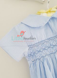 Gorgeous baby blue checked hand smocked romper - size months by LittleSmock on Etsy Smocked Baby Dresses, Smocked Clothing, Little Boy Outfits, Little Boys, Smocking Plates, Baby Boy Romper, Heirloom Sewing, Smoking, Smock Dress