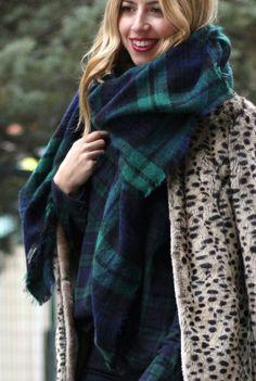 Zara checked scarf poncho xxL green 80€