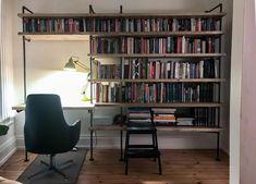 Industrial Shelving Units, Wall Shelving Units, Book Shelves, Desk Wall Unit, Shelving Ideas, Wall Shelves, Bookcase Desk, Bookshelves In Bedroom, Desk Bookshelf Combo