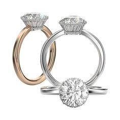 Engagement ring that introduces an under bezel crown of taper baguettes set Elegant Engagement Rings, Round Diamond Engagement Rings, Engagement Jewelry, Diamond Wedding Rings, Diamond Rings, Simple Jewelry, Fine Jewelry, Solitaire Setting, Diamond Princess
