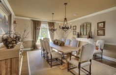 Traditional dining room with solid wood table