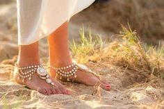 Jennie in her gold enchanted barefoot sandals | Discount code PIN1116 to receive 5% off xx