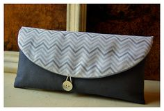 chevron clutch bag Bridesmaids grey gray purse Bridal by hoganfe, 00