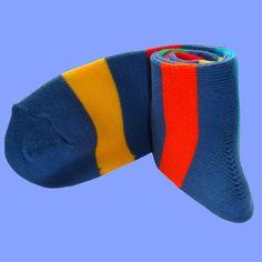 Blue Multi Stripe Socks | Bassin and Brown Green And Orange, Yellow, Blue, Multi Coloured Socks, Brown Socks, Bamboo Socks, Striped Socks, Cotton Socks, Acrylic Colors