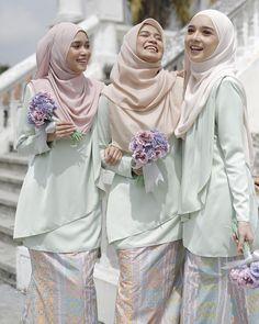 Our special collection Pastelina Batik, we're so excited, and just can't hide it! Dress Brokat Modern, Kebaya Modern Dress, Kebaya Dress, Hijab Gown, Hijab Dress Party, Pastel Bridesmaid Dresses, Bridesmaid Outfit, Bridesmaids, Kebaya Muslim