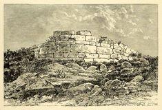 1890 Wood Engraving Ruins Round Tower Peiraieus Piraeus Attica Greece - Period Paper