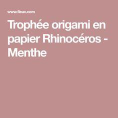 Trophée origami en papier Rhinocéros - Menthe
