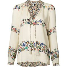 Derek Lam 10 Crosby floral blouse ($410) via Polyvore featuring tops, blouses, white, 10 crosby derek lam, floral silk top, white silk blouse, floral print blouse and white silk top