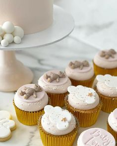 Baby Shower Cupcakes, Mini Cupcakes, Desserts, Food, Tailgate Desserts, Deserts, Essen, Postres, Meals