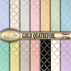 Gold quatrefoil digital paper pastel background от JulieDigitalArt