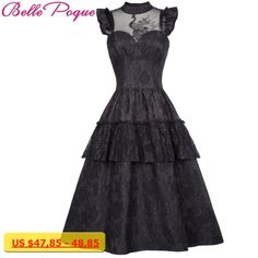 cd93e8aded9 Belle Poque Victorian Dresses Women Summer Black Lace Sleeveless Ruffles  Retro Robe Rockabilly Punk Gothic Dress For Party