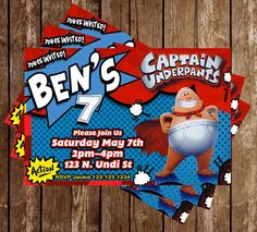 Captain Underpants - Birthday Party - Invitations