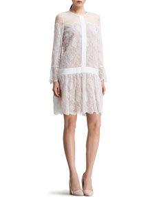 Chloe Drop-Waist Chantilly Lace Dress, White @ Bergdorf   <3