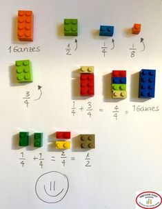 Stefan Keuchel on Fractions with LEGO :] Math For Kids, Diy For Kids, Crafts For Kids, Learning Activities, Kids Learning, Activities For Kids, Simple Math, Easy Math, Math Fractions