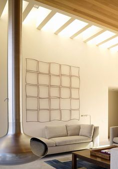 Excellent Minimalist Concept for Beach House Design: Stylish Contemporary Seadrift Residence Living Room Interior Decor With Wall Art Added . Interior Architecture, Interior And Exterior, Arch Interior, Living Room Designs, Living Spaces, Modern Contemporary Homes, Interior Decorating, Interior Design, Design Art