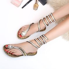 Exclusivo 2015 sandalias de gladiador para mujeres tanga correa de diamantes de imitación de la serpiente envuelta alrededor pies planos sandalias romanas zapatos atractivos(China (Mainland))