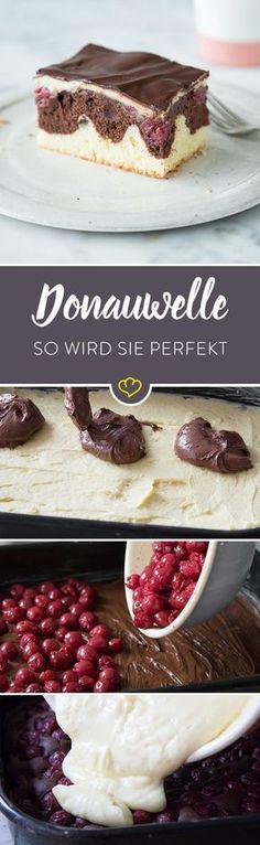 Nach eingehender Betrachtung kann ich sagen: Die Donauwelle ist einfach der König aller Kuchen. Er vereint alles Gute in einem Gebäck: Dunkler und heller Rührteig bilden einen köstlichen Boden, gefolgt von leckeren sauren Kirschen als herrlicher Kontrast zum Schokoteig, das alles getoppt von vanillig-cremiger Pudding-Buttercreme und als absolute Krönung wird das alles auch noch mit einer Schicht zartherber Schokoladenglasur überzogen. Ein Traum von einem Kuchen!