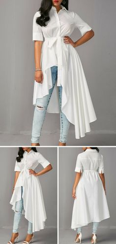Asymmetric Hem Half Sleeve White Long Shirt, take a look on our site for more detail about this blouse. Fashion Wear, Look Fashion, Hijab Fashion, Fashion Dresses, Stylish Dresses, Trendy Outfits, Trendy Tops For Women, Mein Style, Moda Casual