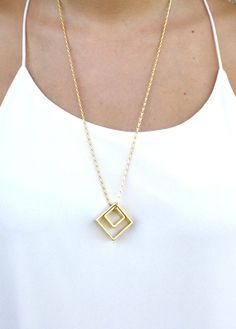 Gold long necklace/ gold square pendant necklace / by SharonTasker, $35.00