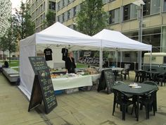 Totally Gazeboed hire out gazebos to market traders.