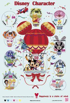 グリーティング切手「ディズニーキャラクター」の発行 - 日本郵便  disney Japanese postage stamp