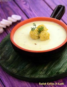 Radish Koftas in Kadhi recipe, Indian Low Fat Recipes Comida India, Vegetarian Recipes, Cooking Recipes, Steamed Rice, 100 Calories, Protein Sources, Lower Cholesterol, Diabetic Friendly, Good Fats