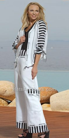 Use the pants I have with pokadots and my black and white shirt with tie front and light weight white jacket (need)