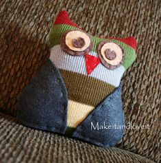 Project for Haley: Stuffed Owl | Make It and Love It | She can use any fabric, it doesn't have to be a repurposed scarf
