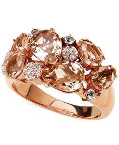 Kaleidoscope Pink Swarovski Crystal Mosaic Ring in 18k Rose Gold over Sterling Silver
