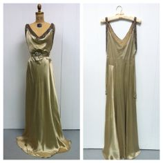 1930s Rhinestone Beaded Satin Gown 30s by LostnFoundVintage
