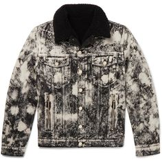 Balmain Faux Shearling-Lined Acid-Washed Denim Jacket (6.830 BRL) ❤ liked on Polyvore featuring men's fashion, men's clothing, men's outerwear, men's jackets, mens metallic gold jacket, mens acid wash denim jacket, balmain mens jacket and mens punk jacket