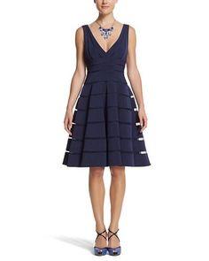 White House | Black Market Navy Shadow Stripe Dress