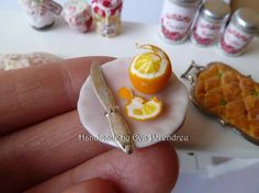 Miniature Pink dish with peeled orange dollhouse scale by Evamini, $9.90