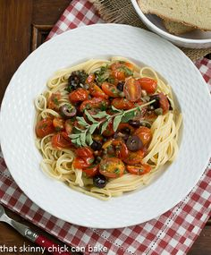Summer Pasta Puttanesca from That Skinny Chick Can Bake | A terrific summer meal featuring your garden harvest!