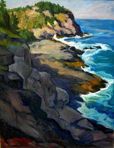 Oil Painting Landscape, Headlands, Monhegan. Large Oil on Canvas, Original Plein Air Impressionist Seascape