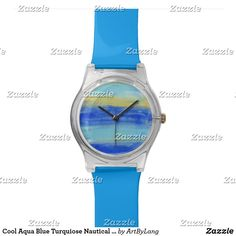Shop Cool Aqua Blue Turquiose Nautical Abstract Art Wrist Watch created by ArtByLang. Aqua Blue, Nautical, Abstract Art, Watches, Cool Stuff, Beach, Artist, Design, Navy Marine