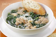 This hearty turkey sausage, kale and white bean soup is loaded with fiber and is a very satisfying meal on a chilly evening. Top this with some good grated---- use spicy chicken or turkey sausage Sausage And Kale Soup, Turkey Sausage, Apple Sausage, Turkey Soup, Chicken Sausage, White Bean Soup, White Beans, Clean Eating, Healthy Eating