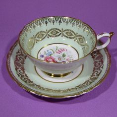 MINT GREEN with GOLD FILIGREE PARAGON TEA CUP & SAUCER SET