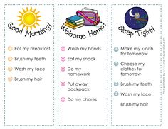 Back to School routine printable. Help encourage kids independence and organization.