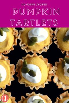 You won't even have to take up oven space during your next holiday event with these easy no-bake tarlets. Rich pumpkin and cream cheese combines with a hint of pumpkin spice to freeze beautifully in crispy phyllo dough cups. Pumpkin Tarts, Baked Pumpkin, Pumpkin Recipes, Fall Recipes, Pumpkin Spice, Holiday Recipes, Thanksgiving Desserts, Fall Desserts, No Cook Desserts