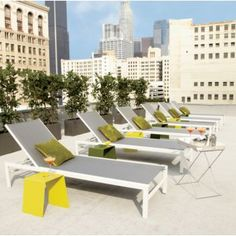 """dimensions: White Sun Lounger. 26.75""""Wx78.75""""Dx26""""H (12.5""""H seat) grey forecast. Minimalist reclining lounger basks in sleek grey-on-white…at minimal price. Stay-cool, plastic-coated polymesh panels inset in rust-resistant white powdercoated aluminum frames. Adjustable sun lounger reads upright, naps flat.  Plastic-coated polymesh panels Rust-resistant white powdercoated aluminum frames Adjustable to flat position During winter months store indoors or keep covered Made in China"""