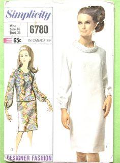 Simplicity 6780 60s Designer Fashion One-Piece A-line Dress Vintage Sewing Pattern bias roll collar back zipper raglan sleeves Bust 36