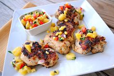 Grilled chicken with corn and pineapple relish - yum! triple threat: low cal, low fat, low carb