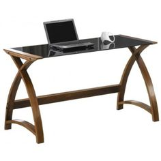 Jual Helsinki Curved Walnut and Black Glass Laptop Desk - Rattan Furniture SHOP UK Interior Furniture