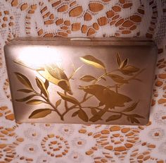 elgin american gold plated purse compact  ,birds and foliage etched on outside hinged case,leaping gazelles inside,made in usa by craftycreationsbycw on Etsy