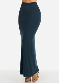 Teal Solid Maxi Skirt