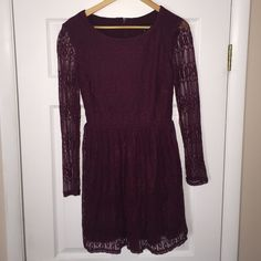 'Wine' Lace Long Sleeve Fit-And-Flare Dress This dress is in EXCELLENT used condition. Was worn only ONCE for my formal last month! Dress is long sleeve and all over lace. Style is fit & flare. Color is 'Wine'. Size is 7. Zipper in the back. Brand is called: City Studio, but this was ordered from Macy's. No signs of any wear & tear. Sooo beautiul!! City Studio Dresses Long Sleeve