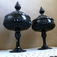 Vintage Black Milk Glass Hobnail Urns with Lid / by portabello