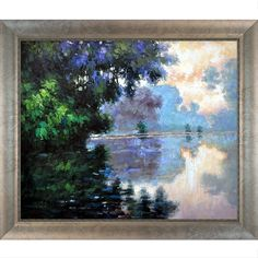 Claude Monet 'Morning on the Seine near Giverny' Hand-painted Framed Art