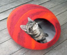 L size cat bed/cat cave/cat house/felted cat cave (With GIFT pad) multicolored. $67.00, via Etsy.